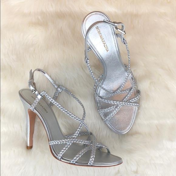 6c1f43679 BCBG Silver Braided Strap Sandals